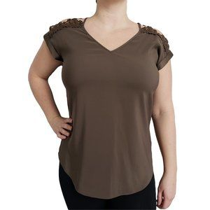 EXPRESS Olive Green Top with Lace Bare Shoulders M